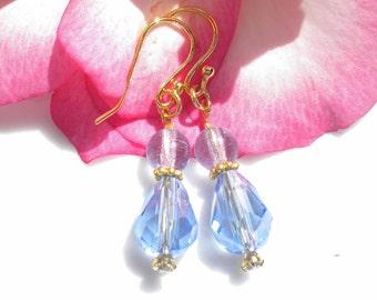 Blue Topaz Blue Rose Quartz Gemstone Earrings 22K Vermeil Gold