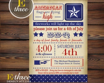 Printable 4th of July Party Invitation - Vintage Fourth of July Invites  - Red, White, & Blue BBQ - Independence Day
