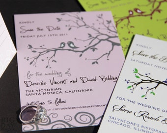 Whimsical, Illustrated Love Birds Save the Date Post Card. Birds and branches save the date. Trendy lovebird save the date