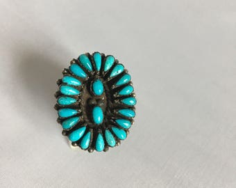Onyx and turquoise ring