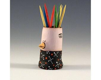 Milo - Keramik Vogel Zahnstocher halten Knospe Vase von Jenny Mendes