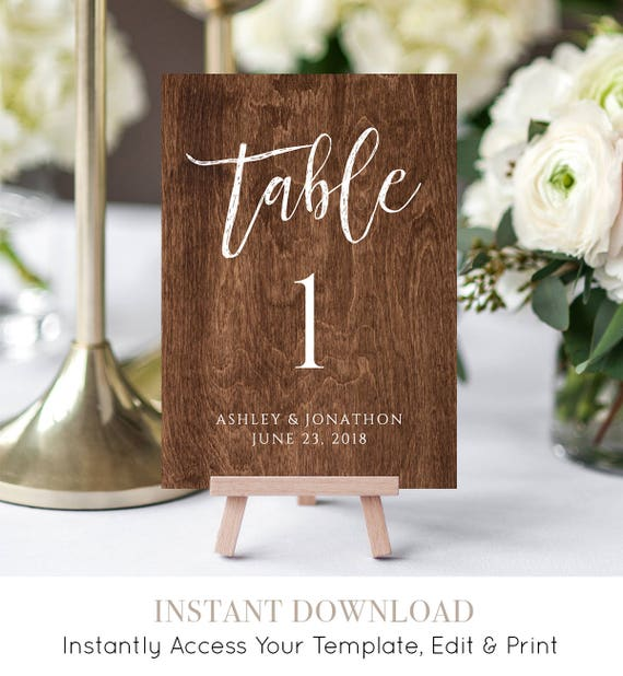 Wood Table Number Template, Printable Wedding Seating Table Card, Rustic Wedding, Instant Download, 100% Editable, Digital #018-115TC