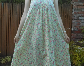 1960s-1970s green, yellow, + red floral pinafore or tent dress // osfm
