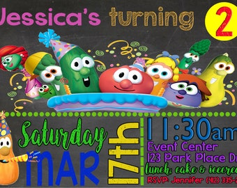 Veggie Tales Birthday Personalized Invite *Digital Image Only* (Larry and Bob)