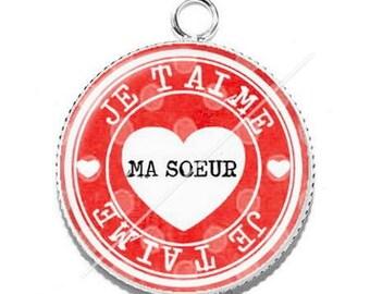 Resin cabochon pendant I love you sister 3