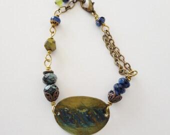 Vintaj bracelet, blue bracelet, BOHO style,  hand painted, gift ideas, blue and gold bracelet, Czech glass, BOHO jewelry, Vintaj jewelry