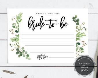 Wedding Advice Card for the bride-to-be template, Instant download printable PDF, bridal shower, mommy, greenery watercolor theme (TEW450_1)