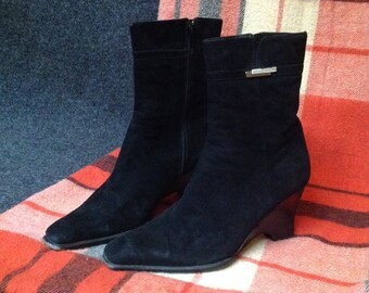 90s Black Suede Ankle Boots High Heel Ankle Boots US 8 EU 39 UK 6