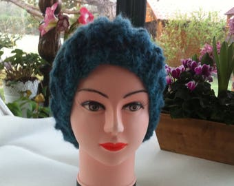 Gradient blue mohair wool hat