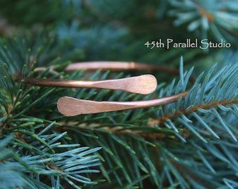 Copper Bangle, Cuff Bracelet, Copper Paddle Bracelet, Wrap Bangle, Arthritis Bracelet, Copper Bracelet, Rustic Bracelet, Raw Copper Bracelet
