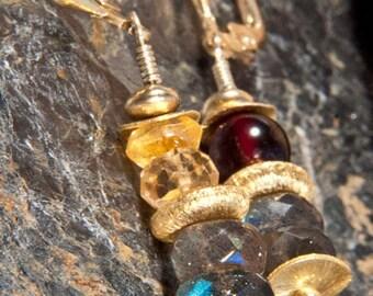 Pendant earrings made of labradorite, Garnet, citrine and gilded 925 silver