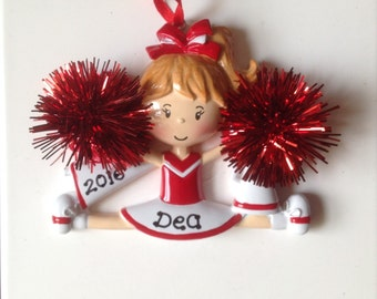Personalized Red Cheerleader Christmas Ornament