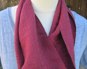 Deep Red Handwoven in huck lace with fringe scarf