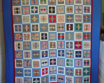 Upcycle Quilt, Traditional Quilt, Full or Twin Size Quilt, Patchwork Quilt, Blue Quilt, Vintage Quilt, Star Quilt, FREE SHIPPING!