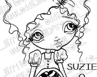 Digi Stamp Digital Instant Download Big Eye Girl ~ Suzie Q Image No. 2 & 2B by Lizzy Love