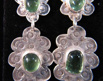 Comstock Lode Historical Glass and Silver Earrings