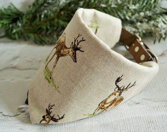The Country Stag - Dog Bandana - Stag Themed Luxury Country Style Bandanas For Dogs and Puppies