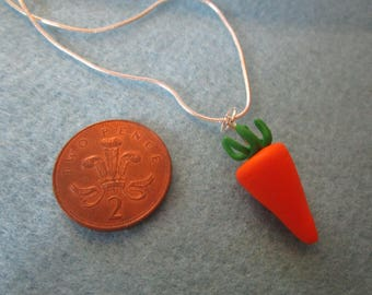 Fimo polymer clay carrot sweet necklace handmade christmas
