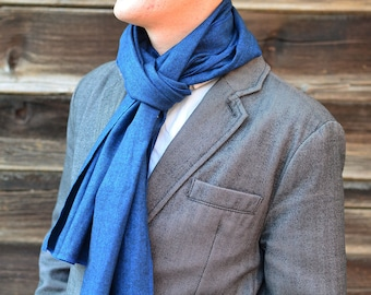 Flannel Scarf in Blue Herringbone- mens womens cobalt family photo matching cotton scarves washable