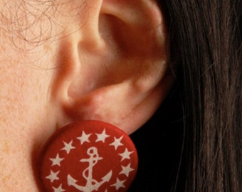 SALE: Anchor Button Earrings