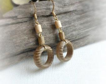 Eco wood bead dangle earrings Little hoop earrings Small green circle earrings Natural wooden earrings handmade wooden jewelry Gift for wife