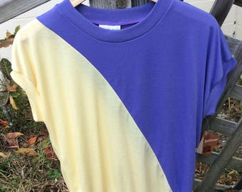Vintage Deadstock 1980s Sears the Fashion Place purple and yellow knit top!