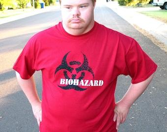 MUTANT BIOHAZARD mens tshirt   safety third shirt - mens  s m l xl xxl red  hand screened