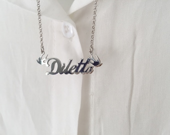 Necklace entirely in 925 silver with name and swallow