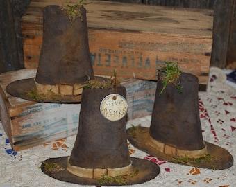 EPATTERN -- Primitive Pilgrim Hat Shelf Sitters Thanksgiving Tucks Ornies Bowl Fillers -- TWO STYLES