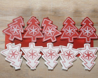Christmas: set of 10 clothespins