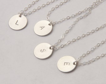 Monogram Necklace in Sterling Silver, Silver  Initial Disc Necklace, Initial Tag Necklace, Silver Initial Necklace, Monogram Disc Silver