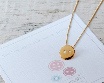 Button Necklace, Gold Button Necklace, Layering Necklace, Gold Necklace, Button Jewellery, Message Necklace, Love Gift For Her,Cute Necklace