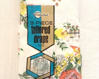 """Vintage Plastic 3 Piece Tailored 87"""" Long Drapes by Dura Wear"""