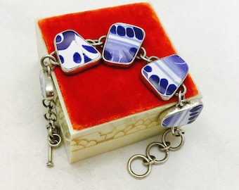Vintage Sterling Silver Ceramic Link Bracelet