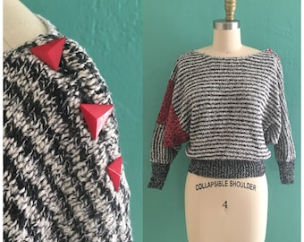 vintage 80's striped sweater // black n white knit top