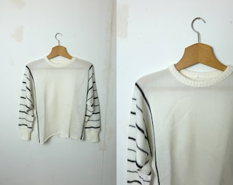 1960s vintage white and black stripe knitted jumper - Small / Medium size - Sixties Mod Nautical