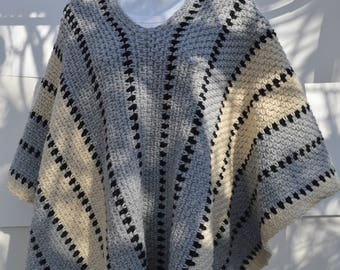 Striped poncho crochet pattern