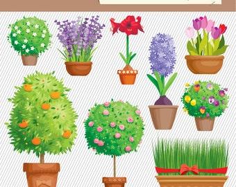 Flower Clipart. Flower Garden Illustration. Flower Plants Digital Images. Garden Clipart.018