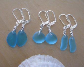 Blue Sea Glass Earrings Beach Glass Jewelry Blue Bridesmaid Jewelry SeaGlass Earrings Turquoise Blue Beach Wedding Jewelry