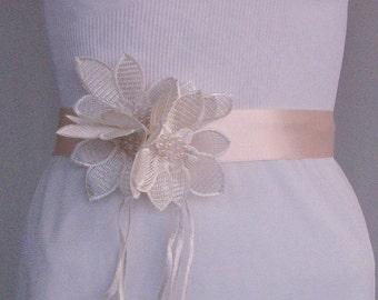 Satin Weddings Dress Belt, Bridal Sash, Champagne, Cream Ribbon, Rose Quartz Wedding, OOAK, Handmade