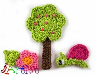 Crochet Applique Tree snail flower