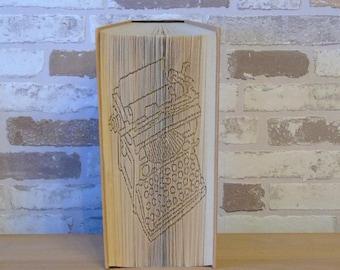 Folded book-old typewriter//book art//Book cutting//Bookfolding//decoration//gift//writing