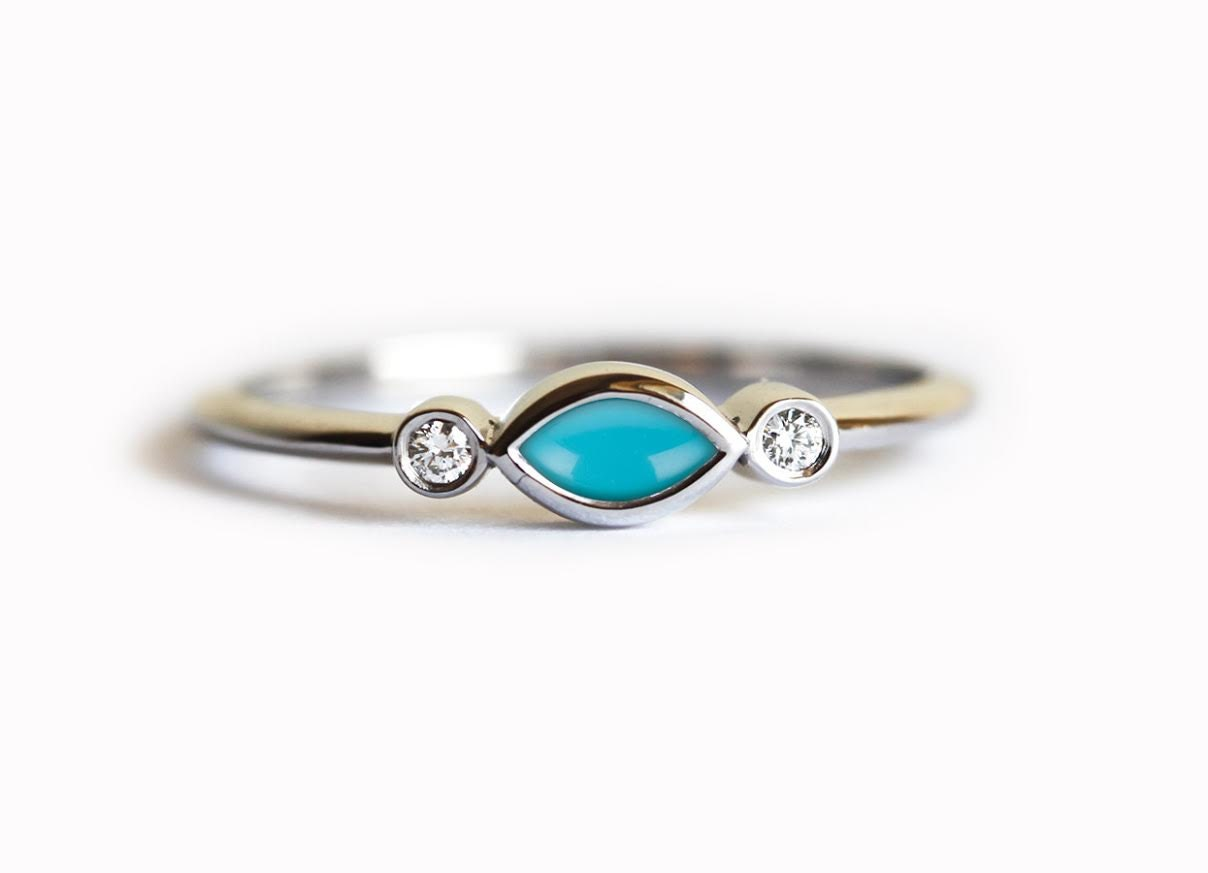 Turquoise Diamond Ring Turquoise Engagement Ring Natural