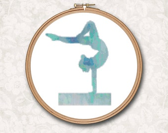 Blue Watercolor Gymnast Gymnastics on Beam Counted Cross Stitch Pattern - PDF Digital Download