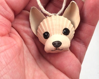MINIATURE Seashell Chihuahua Ornament. Christmas ornament. Dog ornament. Coastal, Cottage, Beach and Dog Lover ornament.