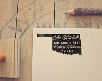 Oklahoma Return Address State Stamp, Personalized Rubber Stamp