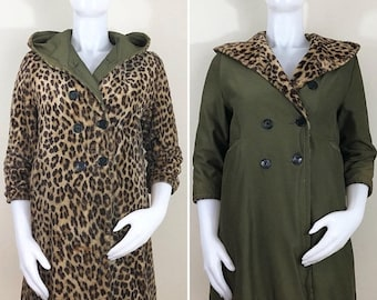 30% Off Sale 50s 60s Faux Fur Leopard Army Green Hooded Reversible Double Breasted Coat, AS-IS, Size XS Petite