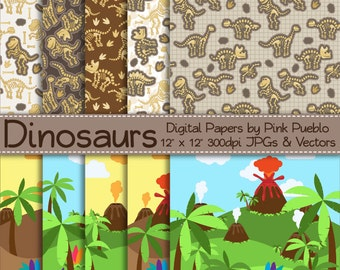 Dinosaur Digital Papers, Dinosaur Scrapbook Papers, Dinosaur Background Patterns, Dinosaur Landscapes - Commercial and Personal Use