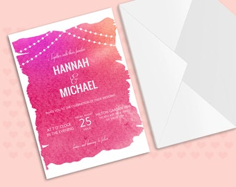DIY Pink Wedding Invitation Suite,wedding invitations with red watercolor wash background,wash invites,Red wash invitations,wash 54