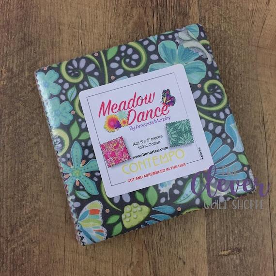 "Charm Pack, 5"" Squares, Benartex, Meadow Dance by Amanda Murphy, Contempo,  42 pcs Precut Quilting Fabric"